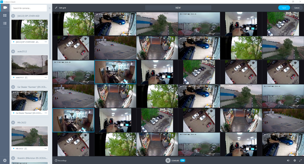 Display up to 36 cameras on one screen   Ivideon