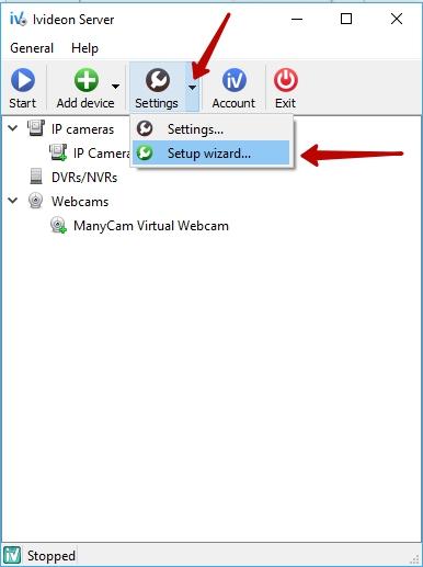 Ivideon Server Setup Wizard | Ivideon